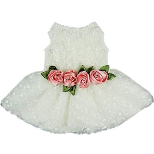 Pant Hund Latzhose Hochwertiges Luxuskleid mit Rosen-Spitze, für Hunde, Hochzeit, Brautkleid, formelle Kleidung, Größe L Weich Komfortabel