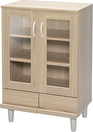 Marca Amazon - Iris Ohyama KPB-9360 Como/Buffet - Mueble de cocina con 2 cajones y 3 estantes con puertas de cristal MDF, madera de ingeniería, color marrón (roble claro)
