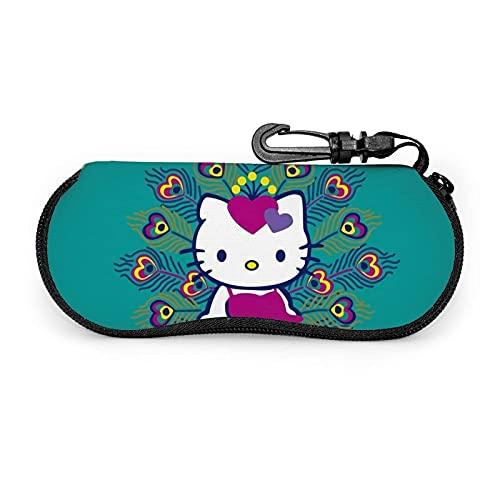 Hello Kitty Brillenetui Tragbare Neopren-Reißverschluss-Sonnenbrillenetuis Mit Schlüsselanhänger Unisex Langlebig Leicht