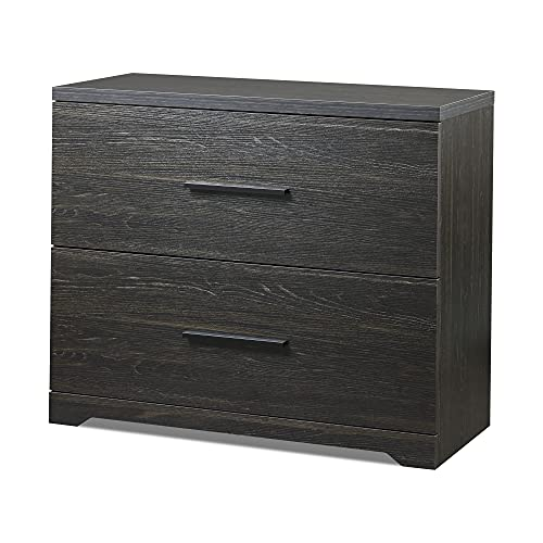DEVAISE 2 Drawer Wood Lateral File Cabinet with Anti-tilt Mechanism, Storage Filing Cabinet for Home Office, Charcoal Black
