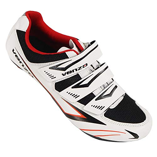Venzo Bicycle Men's or Women's Road Cycling Riding Shoes - 3 Velcro Straps- Compatible with Peloton Shimano SPD & Look ARC Delta - Perfect for Indoor Spin Road Racing Bikes White 46