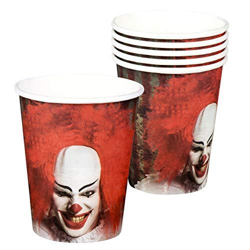 Boland BOL72352 Set da 6 Cups Horror Clown, 25 cl