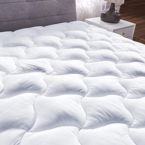 YOUMAKO Queen Quilted Fitted Mattress Pad Cover Pillowtop Overfilled Cooling 8-21 Inch Deep Pocket Bed Topper with Sonw Down Alternative