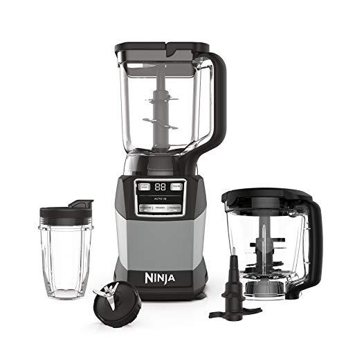 Ninja AMZ493BRN Compact Kitchen System with Auto-iQ, Blender Food Processor Combo, Blend, Chop, Mix Doughs, 1200 Watts, Dishwasher safe 18 oz. Cup, black/grey