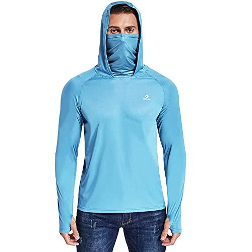 Ogeenier Cuello Alto Camiseta Manga Larga Hombre Camiseta Deporte Ciclismo Proteccion Solar Sudaderas con Capucha