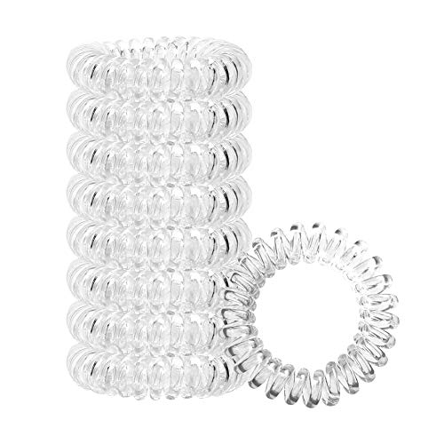 8 Pcs Spiral Hair Ties, Phone Cord Hair Ties with Free Storage Bag, YDOCUN Elastic Hair Coils is Great Gift for Halloween Thanksgiving day and Christmas, Transparent