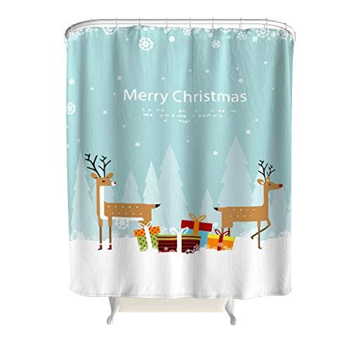 Charzee kerstshirt patroon douchegordijnen modern waterdicht design douchegordijn badgordijn met ringen B x H: 180x200cm