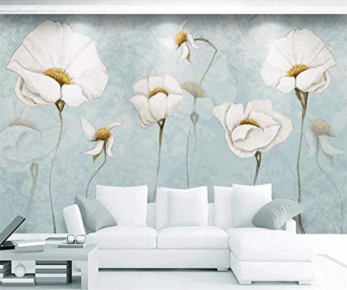 Murales de decoración de flores pastorales americanas modernas, simples y frescas para murales de sala de estar y dormitorio-250X175cm