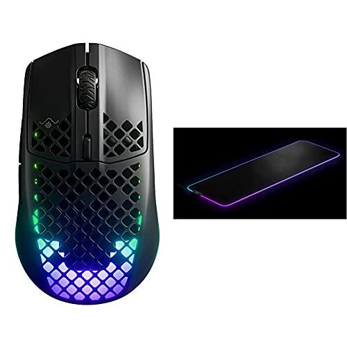 SteelSeries Aerox 3 Wireless - Superleichte kabellose Gaming-Maus - Schwarz & QcK Prism Cloth - Gaming Mauspad – 2 Zonen RGB-Beleuchtung – Größe XL (900mm x 300mm x 2mm)