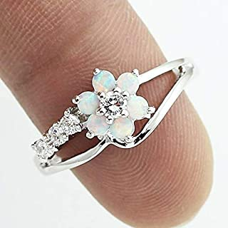 LARDROK Exquisite Round Cut White Fire Opal Stone Flower Women Opal Rings Diamond Jewelry Birthday Proposal Gift Bridal Engagement Party Band Rings Size 6-10