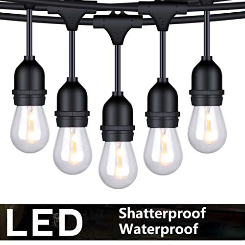 FOXLUX Outdoor String Lights - 48 ft Shatterproof and Waterproof Heavy-Duty LED Outdoor Lights - 15...
