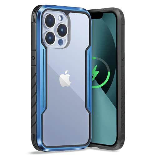Sicher Hülle für iPhone 13 Pro, Transparente Handyhülle Kompatibel mit Magsafe, Clear Case mit Blauem Alu-Rahmen, Schutzhülle Kompatibel mit iPhone 13 Pro(6,1 Zoll), 2M Fall Test, Blau