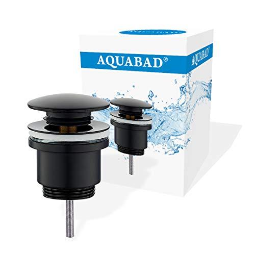 AQUABAD Click Clack CC32 Ablaufgarnitur | Farbe: SCHWARZ | Push Up Ventil für Waschbecken | Kompaktschaft | Deckelform: Rund + Ersatz Dichtring