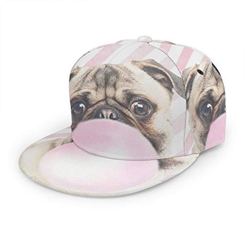 Baseballkappe Mops Kaugummi Snapback Hats Unisex Trucker Hut Hip Hop Plaid Flat Adjustable Baseball Caps Schwarz