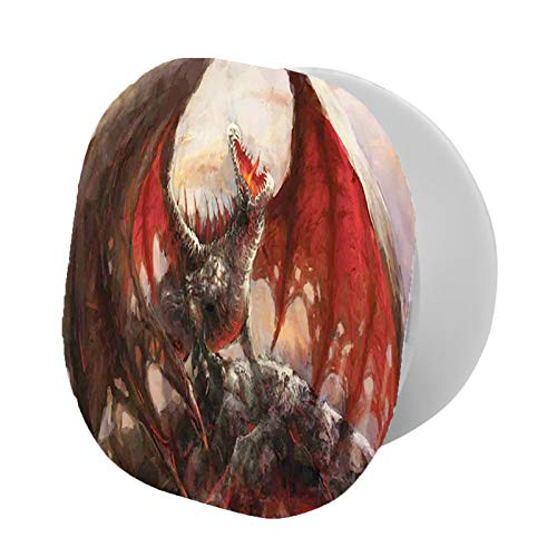 Soporte plegable para teléfono celular, diseño de dragón majestic descansando en montaña mitológica de criatura que arroja fuego y soporte ajustable para teléfono móvil