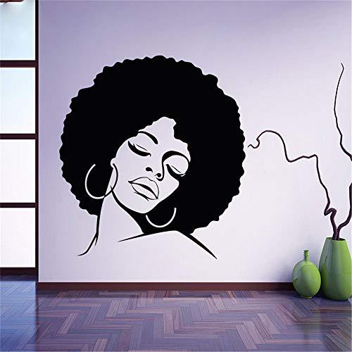 wandaufkleber baum mit fotos Afro Hippie Girl Face, Wandtattoo für Wohnzimmer Beauty Salons Friseur
