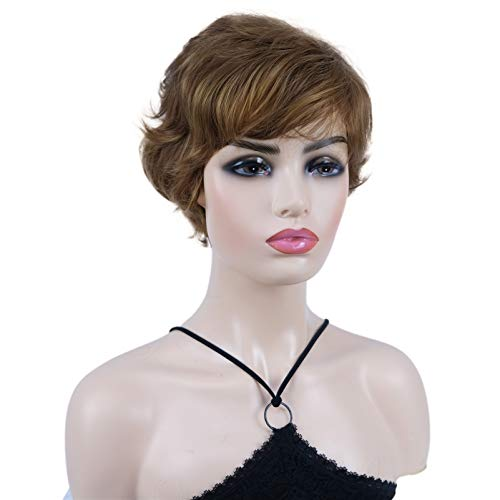 Wiginway Short Straight Synthetic Wigs Wave Shaggy Hairstyle Layered Hair with Bangs for Lady Women