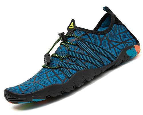 Pastaza Zapatos de Agua para Buceo Snorkel Surf Piscina Playa Calzado de Natación Escarpines para Hombre Mujer,Azul,37 EU