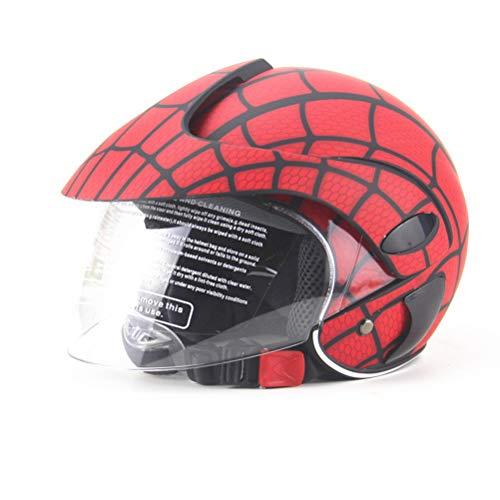 4U4 Kinderhelm-Jungen-Mädchen-Spinnen-Netz-Sturzhelm des elektrischen Motorrad Harley Saison Helm,A