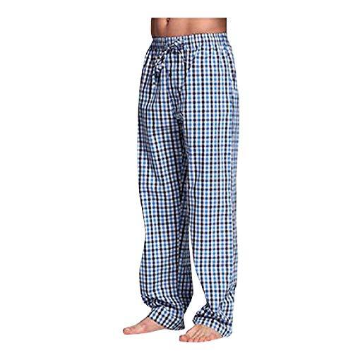 N\P Pantalones de pijama de tela escocesa con banda elástica de bolsillo para hombre