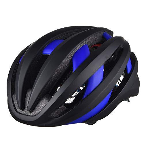 boaber Casco de ciclismo LED inteligente con Bluetooth, transpirable, casco de seguridad para exteriores, casco de bicicleta (color: azul)