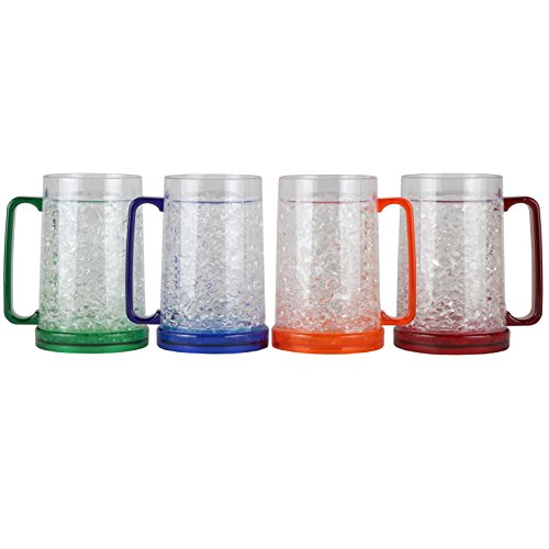 Lily's Home Double Wall Gel-Filled Acrylic Freezer Stein Mugs