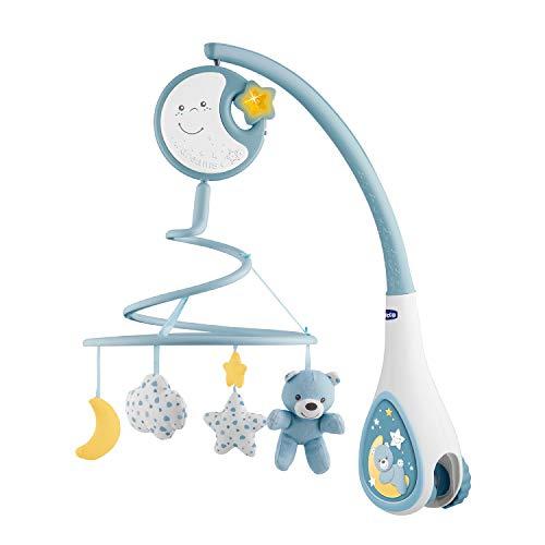 Chicco Next2Dreams Babybett Mobile mit Licht und Musik - 3 in 1 Baby Mobile Kompatibel mit Next2Me Babybett, mit Soundeffekten, Nachtlichtprojektor und Klassischer Musik - 0+ Monate, Blau