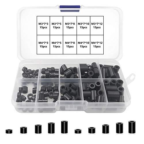 150 pezzi distanziatori rotondi in ABS per viti M3, M4, senza filettatura, supporto distanziatore con scatola di immagazzinaggio (nero)