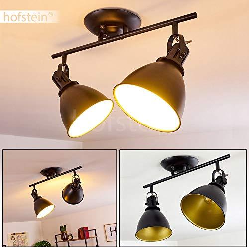 Deckenleuchte Koppom, Deckenlampe aus Metall in Schwarz/Gold, 2-flammig, mit verstellbaren Strahlern, 2 x E14-Fassung max. 40 Watt, Spot im Retro/Vintage Design, für LED Leuchtmittel geeignet