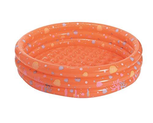 ZIXING Fashion Piscina infantil familiar hinchable y plegable 3 aros para jardín,Piscina Redonda hinchable para niños y adultos naranja One size