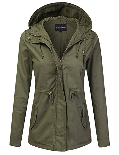 JJ Perfection Women's Casual Lightweight Cotton Anorak Army Utility Jacket Olive M