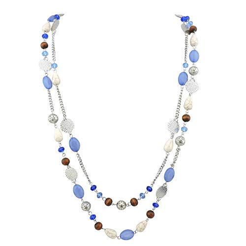 BOCAR 14K Gold Plated Link Chain 2 Layer Crystal Wood Acrylic Colorful Women Party Long Necklace Gift (10084-airy blue)