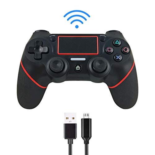 Intckwan Controller für PS4,Wireless Controller für PS4/PS4 Slim/PS4 Pro,USB Controller für PC, Gamepad-Joystick mit Bluetooth-Fernbedienung, doppelter Vibration, Audiofunktion, Mini-LED-Anzeige. rot
