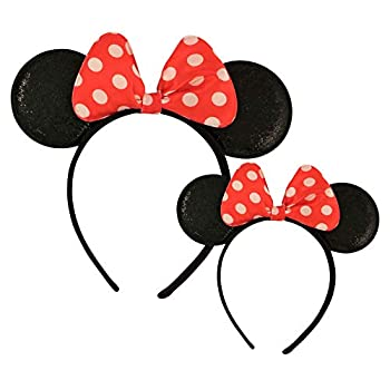 Disney Minnie Mouse Sparkled Ear Shaped Headband with Polka Dot Bow Mommy and Me Set Include One Adult Size and One for Little Girl Age 2-7