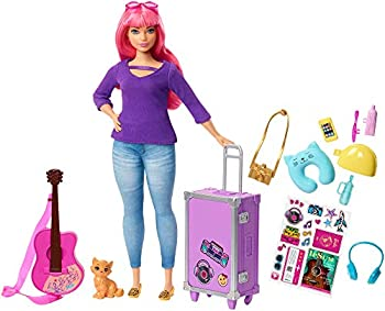 Barbie Daisy Doll Pink Hair Curvy with Kitten Guitar Opening Suitcase Stickers and 9 Accessories for 3 to 7 Year Olds [Amazon Exclusive]