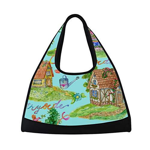 Ahomy Wasserfarbe, Gartenhaus, Vogel, Unisex, groß, Sporttasche, Reisetasche für unterwegs