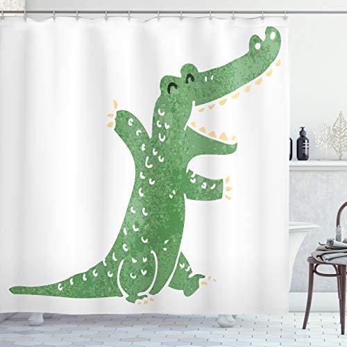 ABAKUHAUS Krokodil Duschvorhang, Funky Creature Lachen, Waschbar & Leicht zu pflegen mit 12 Haken Hochwertiger Druck Farbfest Langhaltig, 175x180 cm, Pfau-Grün-Beige