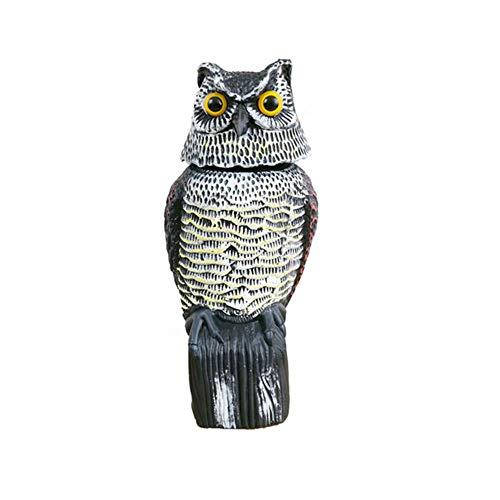LIUSHI 360-Degree Rotating Pastoral Shaking Head Owl Sculpture Decoration, Owl Garden Decoration Plastic Simulation Animal Resin Decoration Decoration 16 15 38.5cm