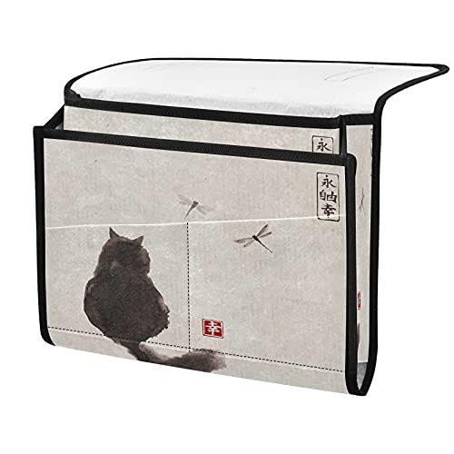 Organizador de almacenamiento para mesita de noche, diseño vintage de gato con libélula, junto a la caja, organizador de almacenamiento para mandos a distancia y gafas de teléfono