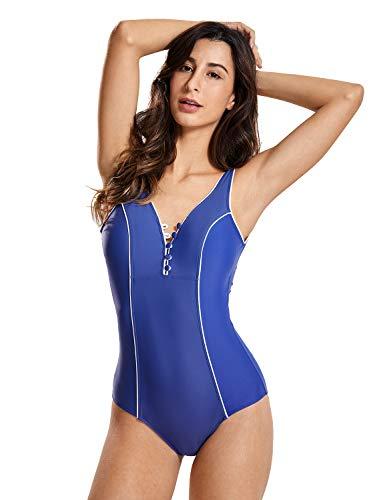 DELIMIRA - Bañador Escote en V Traje de Baño de Una Pieza para Mujer Azul Oscuro 44