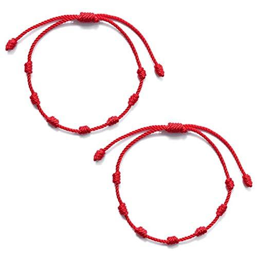 ALXiiii Pulsera Roja 7 Nudos Amuleto del Pulsera Cordón Pulsera Hilo Rojo de Pulsera roja de Amistad de Pareja Ajustable Tejida a Mano de Personalidad Simple