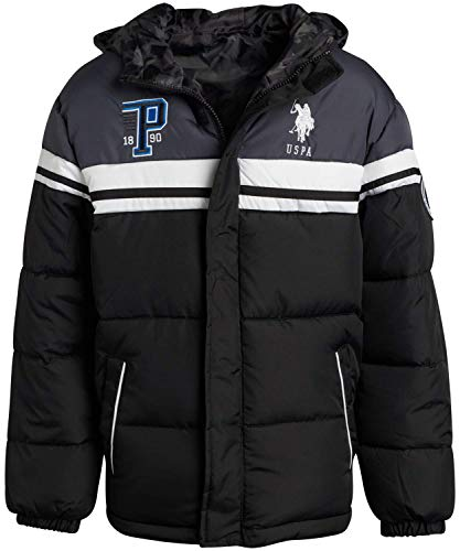 U.S. Polo Assn. Boys Bubble Puffer Jacket with Hood - Reversible with Camo Print, Black/Charcoal, Size 8