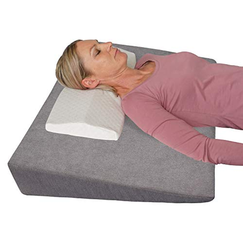 Bettkeil Keilkissen Schlaferhöhung + Nackenkissen Gratis dazu! Als Bein- oder Rückenkissen für Bett und Sofa/Seiten- und Rückenschläfer Matratzenkeil, Matratzenerhöhung 90x60x12 cm (grau)