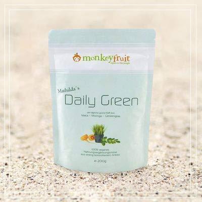 Mathilda´s Daily Green Pulver mit Moringa, Maca & Gerstengras von MonkeyFruit, 200g Pulver, Smoothie in a tablet (by VivaNutria)