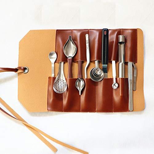 Pinzas de Cocina Pinzas de Precisión Conjunto de Alimentos Occidentales Juego de 15 Piezas/Juego de 19 Piezas de Salsa de Soja Cuchara de Cuero Molecular Bolsa de Acero Inoxidable Chef de Cocina del
