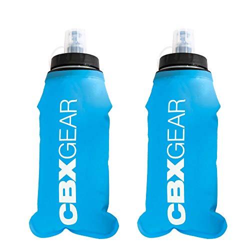 CBX GEAR 2X Trinkflasche 500 ml Blau Faltbare und auslaufsichere Wasserflasche | Laufausrüstung für Joggen, Trailrunning, Trekking, Marathon und mehr | Super leicht, kompakt und handsicher …