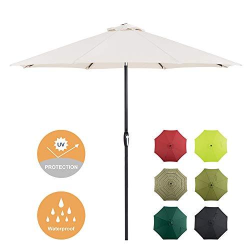 Tempera 9 Ft Patio Umbrella Outdoor Garden Table Umbrella with Push Button Tilt and Crank 8 Ribs, Beige