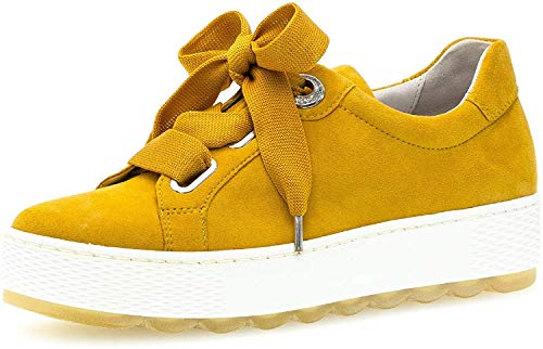 Gabor Damen Sneaker, Frauen Low-Top Sneaker,Comfort-Mehrweite,Wechselfußbett, Damen Frauen weibliche Lady Ladies Women,Mango,38.5 EU / 5.5 UK