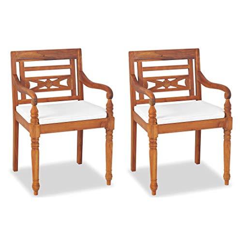 Festnight- Gartenstuhl Batavia Stühle 2 STK. 2 Stühle und 2 Polster Kolonialstil Teak 55 x 51,5X 84 cm