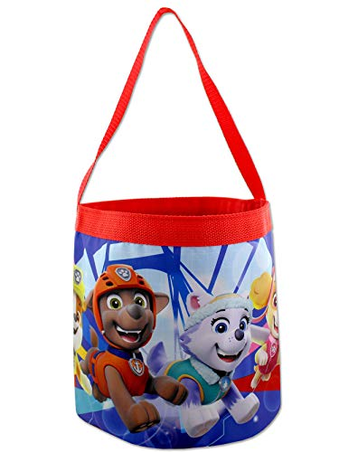 Paw Patrol Boys Girls Collapsible Nylon Gift Basket Bucket Toy Storage Tote Bag (One Size, Blue/Red)